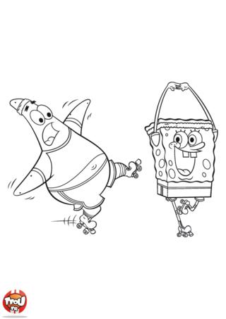 Coloriage: Bob l'éponge et Patrick en roller