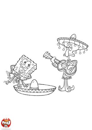 Coloriage: Bob l'éponge et Carlo au Mexique