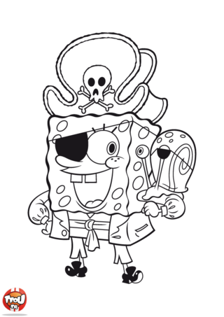 Coloriage: Bob l'éponge pirate