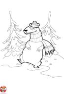 Ours en écharpe et bonnet