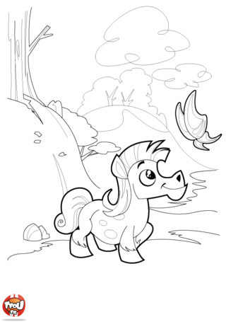 Coloriage: La balade du poney