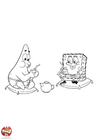 Coloriage: Bob l'éponge et Patrick prennent le café