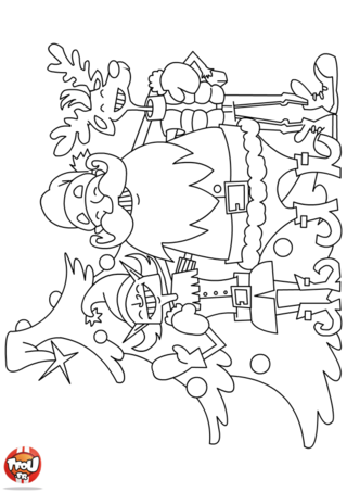 Coloriage: Le Père Noël et le lutin