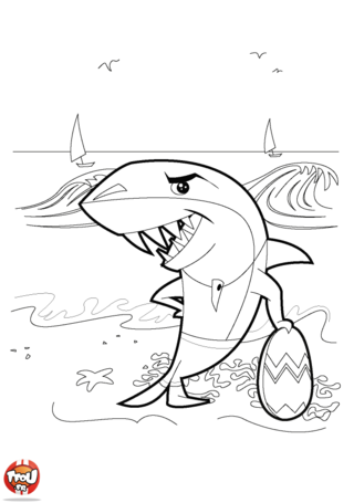 Coloriage: Requin sur la plage