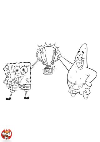 Coloriage: Bob l'éponge et Patrick champions