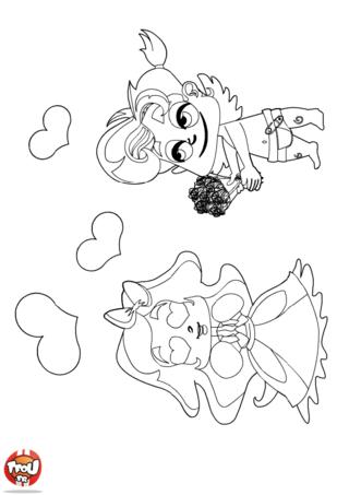 Cupidon a déclaré sa flamme à Valentine pour la Saint Valentin. Choisis tes plus beaux crayons de couleurs et imprime ce coloriage Saint Valentin le 14 février.
