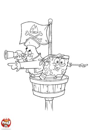 Coloriage: Bob l'éponge et Patrick pirates