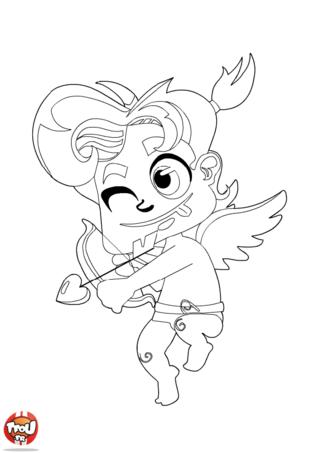 Cupidon a l'air concentré avec son arc. Il essaie de rendre amoureux le plus de personne possible. Pour la Saint Valentin, imprime ce coloriage Saint Valentin sur TFou.fr.