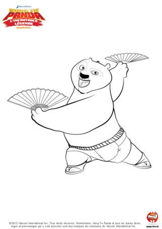 Coloriage : Pô danse. Imprime vite ce coloriage de ta série préférée Kung Fu Panda et amuse-toi à le colorier avec les couleurs de ton choix.