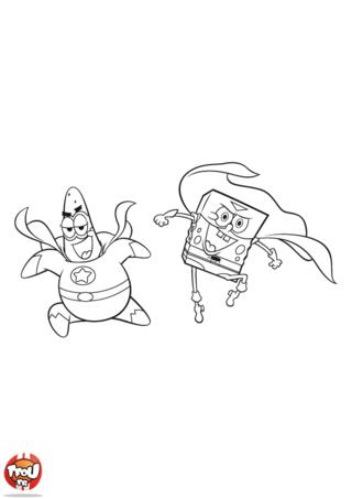 Coloriage: Bob l'éponge et Patrick supers héros