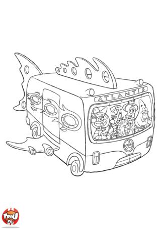 Coloriage: L'équipe Bob l'éponge en bus