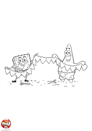 Coloriage: Bob l'éponge et Patrick guirlande coeurs