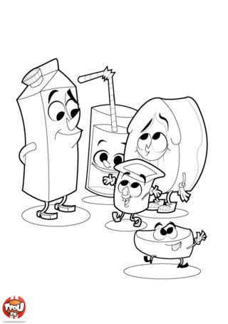 Coloriage: Les produits laitiers de la cantine
