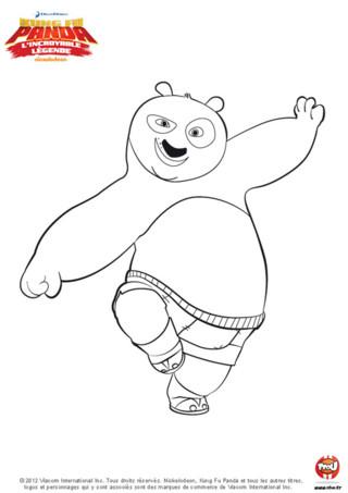 Coloriage : Pô fait du kung fu. Imprime vite ce coloriage de Kung Fu panda et amuse toi à colorier Pô !