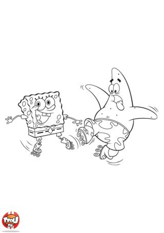 Coloriage: Bob l'éponge et Patrick tombent en roller