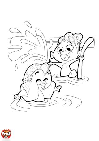 Coloriage: Jeux dans la piscine 2