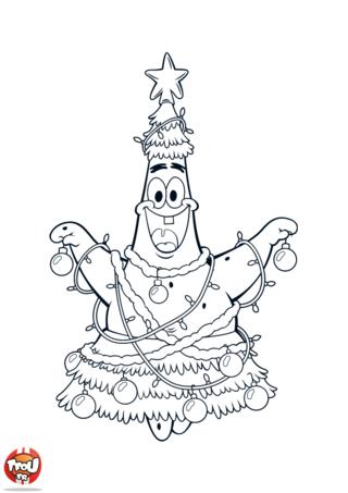 Coloriage: Patrick sapin de Noël