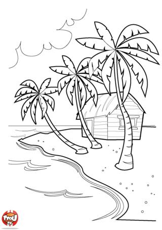 Coloriage: cabane sur la plage