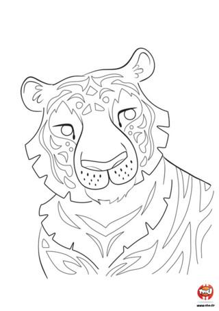 En voilà un beau tigre ! Ce super coloriage à imprimer pour enfant que te propose TFou.fr, sera un vrai plaisir à réaliser. Ce tigre, avec son beau pelage composé de belles rayures n'attend plus que tu lui redonnes des couleurs. Le tigre a une belle fourrure rousse avec des rayures noires, mais laisse parler ton imagination, et colorie-le selon tes envies. Si toi aussi tu aimes les coloriages de tigres pour enfant, n'attend plus pour imprimer ce coloriage gratuit !
