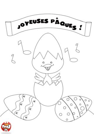 Coloriage : TFou.fr te souhaite de passer de Joyeuses fêtes de Pâques ! TFou.fr t'a préparé de nombreuses surprises pour que tu puisses t'éclater avec ta famille et tes amis pendant les vacances de Pâques. Découvre les nombreux coloriages Pâques disponibles sur TFou.fr. Imprime-les vite gratuitement pour pouvoir bien t'amuser et passer des vacances de Pâques au top ! Pour chaque coloriage imprimé gratuitement sur TFou.fr tu gagnes un maximum de points pour obtenir des badges de tous tes héros préférés avec TFou.fr !