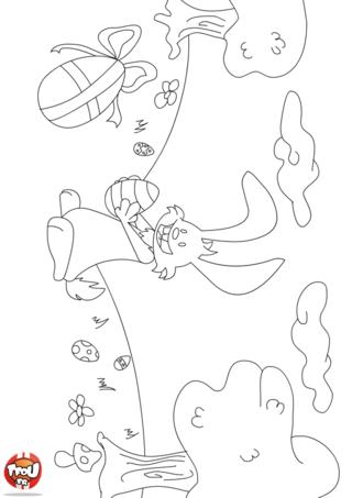 Coloriage : tu aimes les lapins pour la fête de Pâques ? Alors imprime vite ce coloriage de lapin de Pâques gratuitement sur TFou.fr ! Ce lapin est parti ce matin à la chasse aux chocolats de Pâques. Aide-le à tous les trouver en imprimant ce beau coloriage gratuit sur TFou.fr. Pars à la recherche des nombreux chocolats qui ont été cachés par le papa lapin dans la forêt. Tu vas tellement t'amuser avec lui c'est certain ! Prends tes crayons de couleur pour décorer le lapin, les chocolats de Pâques et la forêt avec Tfou.fr !