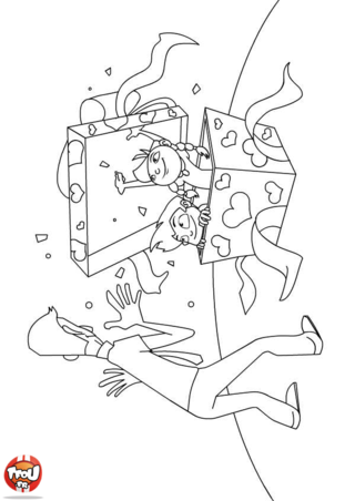 Coloriage : c'est une sacrée surprise que Rémy et Chloé font à leur papa ! Ils se sont cachés dans un méga cadeau pour la fête des pères ! Grégoire leur papa doit être drôlement heureux et surpris. Imprime ce coloriage gratuitement pour faire toi aussi une belle surprise à ton papa à l'occasion de son anniversaire ou pour la fête des pères. Un coloriage est un cadeau qui fera très certainement plaisir à ton papa car il vient du coeur. Si tu veux encore plus de coloriage à offrir à ton papa, viens vite imprimer tous les coloriages dans la rubrique fête des pères !Coloriage: Surprise pour la fête des pères