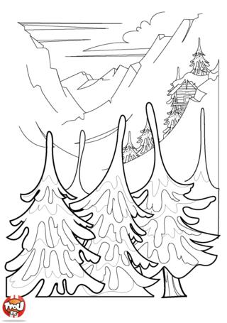 Que c'est beau la montagne recouverte de neige ! Pour les vacances de février, imprime gratuitement ce coloriage d'hiver et colorie-le sur TFou.fr.