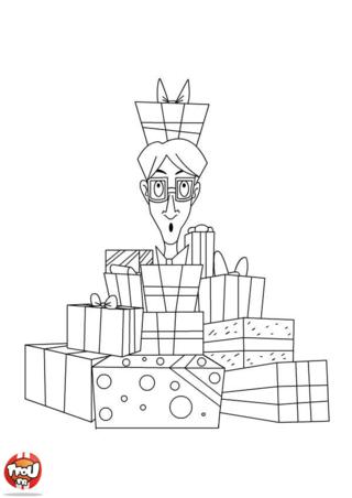 Coloriage : Paul, le papa doit être un papa bien heureux ! Il a l'air surpris, il croule sous une montagne de cadeaux, est-ce pour son anniversaire ? Imprime vite ce coloriage avec ce papa entouré de cadeaux, colorie-le et offre-le à ton papa à l'occasion de la fête des pères ou tout simplement pour lui dire que tu l'aimes. TFou te propose également de nombreux coloriages à offrir à ton papa, vite imprime-les tous, c'est gratuit !