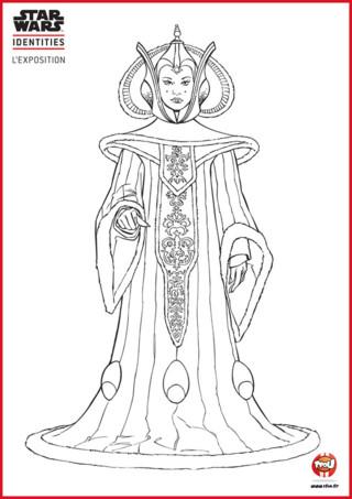 Tfou.fr te propose d'imprimer gratuitement ce magnifique coloriage de la reine Amidala. Padmé Amidala est la reine de la planète Naboo. Mais une reine sans couleurs n'est pas une reine ! Redonne-lui toute sa beauté et son éclat en la remplissant de jolies couleurs. Bleu, rouge, jaune... à toi de laisser faire ton imagination ! Va sur Tfou.fr et imprime gratuitement ce coloriage de la Reine Padmé. Si tu aimes les coloriages Star Wars, tu trouveras d'autres coloriages de la série sur le site TFou.fr
