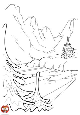 Si tu aimes les paysages de montagne, tu aimeras ce coloriage de paysage de glacier dans les montages. Imprime plein de coloriage hiver pour les vacances de février.
