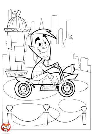 Coloriage: Papa sur la moto