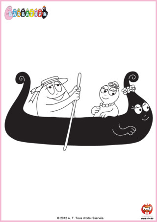 Coloriage : Barbamama s'est transformée en canoë, pratique pour naviguer. Imprime ce coloriage de Barbabelle et Barbibul en train de pagayer sur TFou.fr.