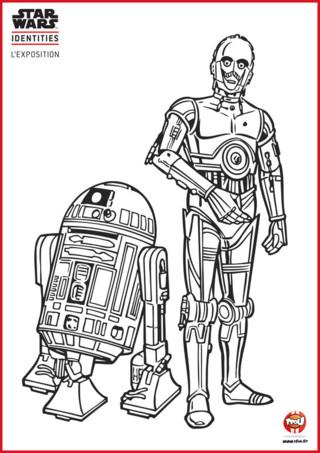 C-3PO et R2-D2 sont les deux robots emblématiques de la série Star Wars. Tfou.fr te propose un coloriage gratuit à imprimer des deux acolytes. Entre le grand C-3PO qui parle de trop et le petit R2-D2 qui fait des bruits c'est une grande histoire d'amitié et d'humour. Ils sont rigolos tous les deux. Tu veux t'amuser avec eux ?! Va sur TFou.fr, imprime gratuitement ce coloriage Star Wars et amuse-toi à les colorier. Prends tes plus beaux crayons de couleurs ou feutres et à toi de jouer !