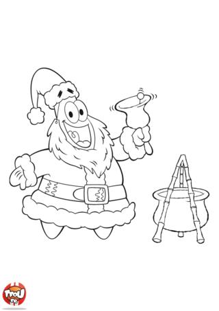 Coloriage Bob l'éponge : Patrick chaudron Père Noël
