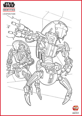 Dans la série Star Wars, il y a beaucoup de robots. TFou.fr te propose un coloriage à imprimer de deux robots Star Wars. Ces deux robots se nomment P-59 et P-60... pas très original comme noms. En plus avec leurs armes, ils n'ont pas l'air très marrant... Libre à toi de les rendre plus rigolos ! Imprime gratuitement ce coloriage sur TFou.fr et laisse faire ton imagination. Si tu aimes les coloriages Star Wars, tu trouveras d'autres coloriages de la série sur le site TFou.fr.