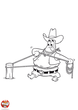 Coloriage: Patrick cow boy