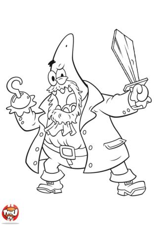 Coloriage: Patrick capitaine crochet