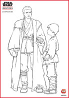 Coloriage - Obi Wan le maitre jedi et son padawan Ankin