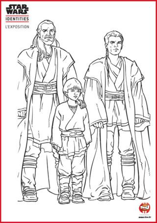 Qui n'a jamais rêvé d'être un Jedi ?! Chez TFou.fr, on rêve de maitriser la Force et d'avoir un sabre laser. Colorie Qui-Gon Jinn le maitre jedi d'Obi Wan Kenobi et Anakin Skywalker futur jedi avec les couleurs de ton choix. N'attends pas, imprime gratuitement ce coloriage sur TFou.fr et fait d'eux de vrais jedi ! Si tu aimes les coloriages Star Wars, tu trouveras d'autres coloriages de la série sur le site TFou.fr. A toi de colorier jeune TFounaute !