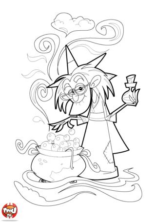 Coloriage: Le magicien tourne sa potion