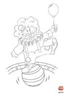 Coloriage-Clown et ses ballons