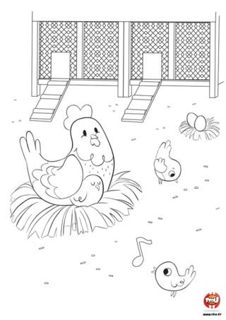 Une poule dans une ferme avec ses petits poussins, c'est trop cool à colorier. Alors TFou.fr te propose ce super coloriage pour enfant à réaliser, sur le thème de la ferme. Tu pourras alors colorier la maman poule qui est dans son nid et câline son petit poussin pendant qu'il fait sa sieste. Ses frères et soeurs poussins eux s'occupent en picorant des graines dans la bassecour, ou en sifflotant des mélodies joyeuses. Imprime vite ce coloriage gratuit pour enfant sur TFou.fr !