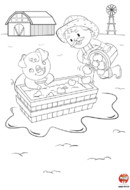 Coloriage-Ferme-Le repas du petit cochon