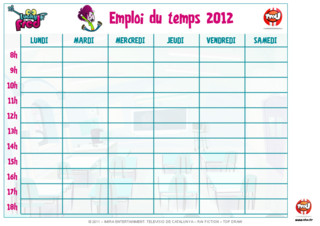 Activit : Emploi du temps. Imprime vite ton emploi du temps Lucky Fred et remplie-le en fonction des tes cours et de tes activits de la semaine.