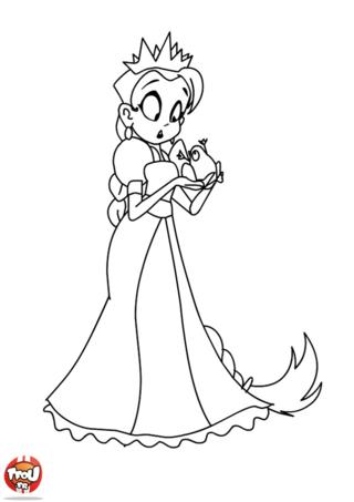 Coloriage: La princesse et la grenouille