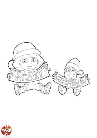 Coloriage: Merry Christmas Dora