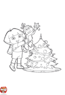 Dora et Babouche devant le sapin