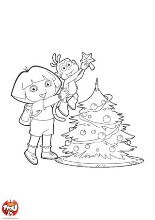 Coloriage: Dora et Babouche devant le sapin