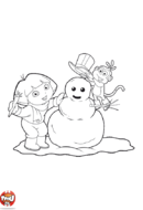 Dora et babouche font un bonhomme de neige
