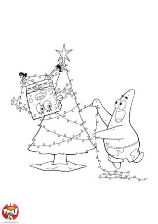 Coloriage Bon l'Eponge: Bob et Patrick décorent le sapin